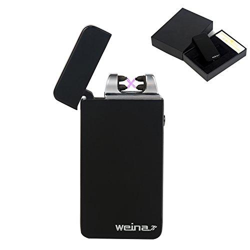 Encendedor de Doble Arco Sin Llama WEINAS® Mechero Eléctrico USB Recargable Resistente al Viento - Negro
