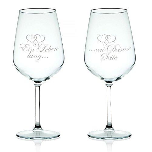 Leonardo Weinglas Ein Leben lang an Deiner Seite mit Gravur im Set - Geschenk für Paare - Liebesbeweis Liebesgeschenk für Sie/Ihn - Idee als Hochzeitsgeschenk Jahrestag oder zur Verlobung