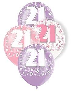 Unique Party Paquete de 6 Globos de látex de 21 cumpleaños, Color Rosa, Edad (80873)