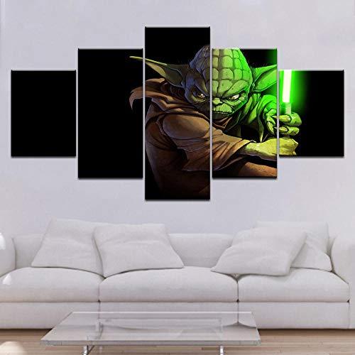 Yyjyxd Wohnkultur Gemälde Auf Leinwand 5 Stücke/Stücke HD Gedruckt Master Yoda Modulare Vintage Bilder Wandkunst Für Wohnzimmer-16x24/32/40inch,With frame