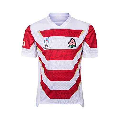 Shocly 2019 Weltmeisterschaft Rugby Jersey Rugby-Trikot Japanisch zu Hause/unterwegs für Männer Kurzarm-Freizeit-T-Shirt-Trainingsanzüge,S/165-170CM