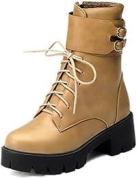 AgooLar Damen Artifizielles Büffelleder Niedrig-Spitze Schnüren Stiefel mit Metall Schnalle, Weinrot, 34