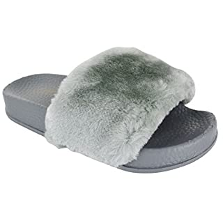 EYESONTOES Kids Girls Flat Slip ON Open Toe Rubber Slider Fur Comfy Slippers Sandals Shoes