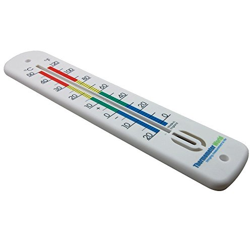 Termometro da parete grande 380mm Colore codificato zone–Made in UK–Uso in casa, stanza, ufficio, giardino o serra da interni ed esterni