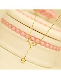 KOMO Vêtements Femme pendentif en argent collier Pendentifs frais d'amour, simple et polyvalent de clavicule collier pendentif cristal Mini chaîne de cadeaux d'anniversaire, de l'or
