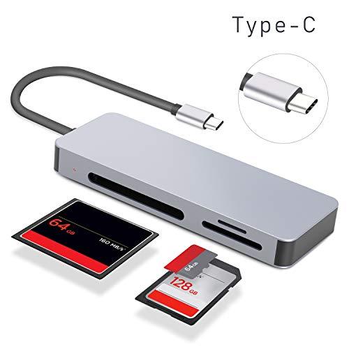 Xddias Type C Lettore Scheda, 3 in 1 Adattatore USB Type C[Thunderbolt 3], Alluminio Card Reader Memoria Micro SD/TF/SDHC/SDXC/CF per Smartphone Tipo C OTG/MacBook/PC/Laptop/iPad PRO 2018