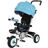 Fascol Triciclo Bebé plegable 4 en 1 Trike Bicicleta para Niños de 6 Meses a 5 Años Máx 30 kg, Azul