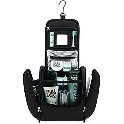 GO!elements® Kulturbeutel Kulturtasche zum Aufhängen Herren & Damen | Kosmetiktasche groß Mann Frauen für Koffer & Handgepäck | Waschtasche Reise-Tasche, Farbe:Schwarz