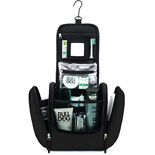 GO!elements® Kulturbeutel Kulturtasche zum Aufhängen Herren & Damen | Kosmetiktasche groß Mann Frauen für Koffer & Handgepäck | Waschtasche Reise-Tasche, Farbe:Schwarz -