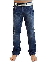 Smith & Jones Mens Nouveaux Enrico Bootcut Jambe Jeans Stonewash