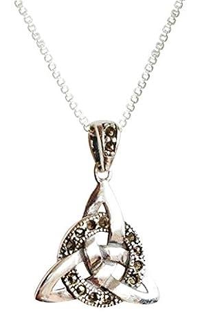 Amore Bracciali Pendentif en argent sterling et marcassite Symbole trinité Chaîne de 45,7cm