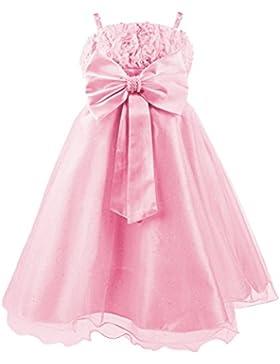 Princesas Disney - Vestido de verano de fiestas y gala con falda de tul, con cinturón de parlas y lazo para niña...