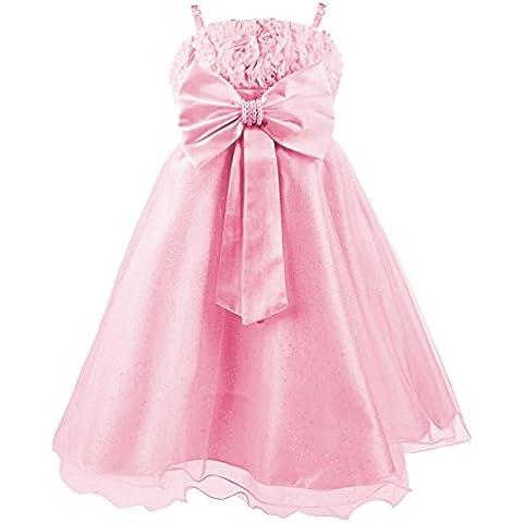 Princesas Disney - Vestido de verano de fiestas y gala con falda de tul, con cinturón de parlas y lazo para niña, color rosa brillante, 6-7 años  (Katara 1716)