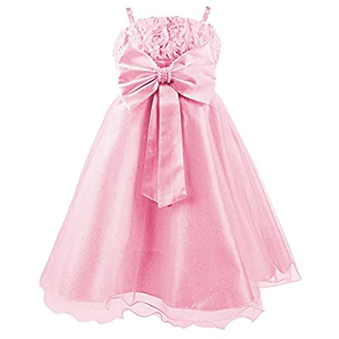 Katara 1716-Princess Summer Dress with Belt and Tulle Back, Pearl Bow, 98/104, Label 4, Pink