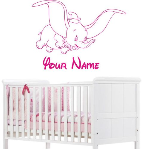 Preisvergleich Produktbild PERSONALISED DUMBO & NAME - Wall art sticker 96cm (w) x 72cm (h) Please state colour on purchase otherwise pink will be sent by Various