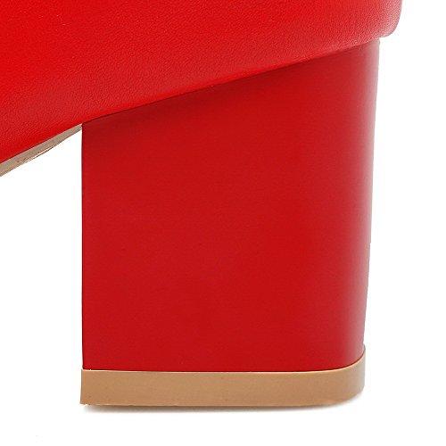 VogueZone009 Femme Rond Couleur Unie Haut Bas à Talon Correct Bottes Rouge