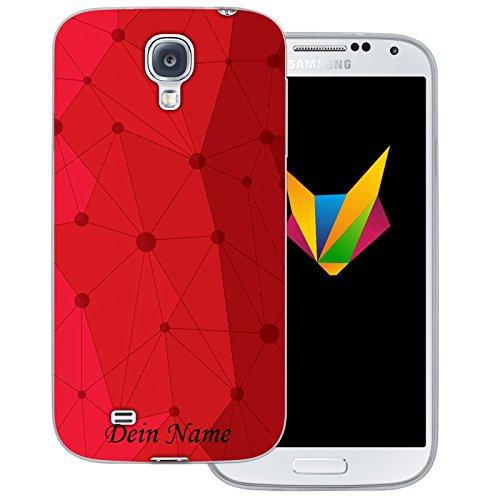 Mobilefox Grafik mit Namensdruck transparente Silikon TPU Schutzhülle 0,7mm dünne Handy Soft Case für Samsung Galaxy S4 Grafik Atomium Rot
