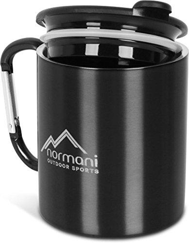 Doppelwandige Karabinertasse 330 ml mit passendem Trinkdeckel, rostfreier Edelstahl Farbe Schwarz