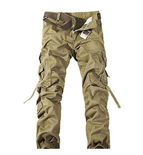 ZKOO Cotone Cargo Pantaloni Uomo Lungo Pantaloni da Lavoro Sportivi Jogger Pantaloni Calzoni con Multi Tasche All'aperto Uomini Cachi