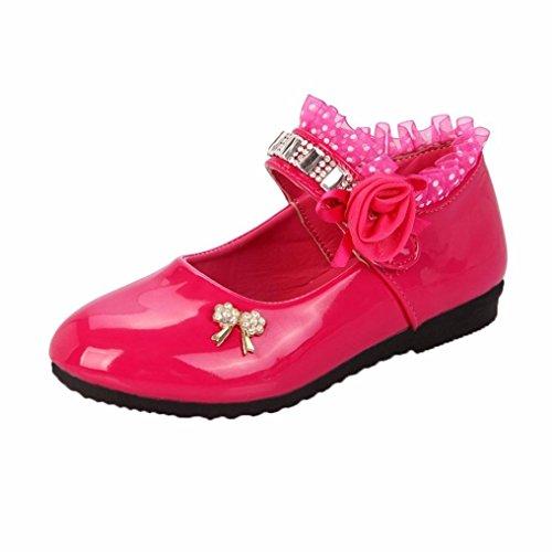FEITONG Mädchen Ballerinas Schuhe | Mary Jane Lederschuhe für Mädchen | Spitze Prinzessin Schuhe Strass Sandalen (CN 30, Rot) (Mary-janes Casual Mädchen)