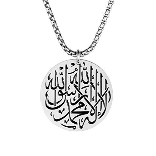 PAURO Herren Edelstahl Gott Allah Muslim Islam Runde Anhänger Halskette Mit 24 Zoll Kette Silber
