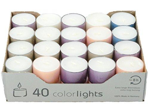 Wenzel-Kerzen 23-229-40-P-UK Colorlights pastell 8H Teelichte, Paraffin; Polycarbonat, 3,8 x 3,8 x 2,4 cm (Stück Mix 40)