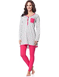 Be Mammy Pijamas con Lactancia Function Manga Larga para Mujer BE20-178