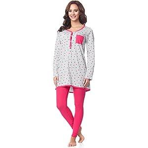 Be-Mammy-Premam-Pijama-Conjunto-Camiseta-y-Leggins-Embarazo-Lactancia-Maternidad-Vestidos-de-Cama-Mujer-BE20-178Gris-Puntitos-Rosa-L