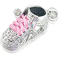 Bling Jewelry Argento CZ High Top Sneaker pattino di bambino del pendente di fascino Rosa Shoe Lace