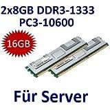 Dual Channel Kit: 2 x 8 GB = 16GB 240 pin DDR3-1333 Dual Rank ECC Registered (1333Mhz, PC3-10600, CL9) - 100% kompatibel zu HP PART# 500205-071 + 500662-B21  - passend für HP Compaq ProLiant BL280c G6 + BL460c G6 + BL490c G6 + DL160 G6 + DL180 G6 + DL320 G6 + DL360 G6  (Reg.ECC) + DL370 G6 + DL380 G6 + DL380 G7 + DL385 G7 + DL580 G7 + DL585 G7 + DL1000/DL170h