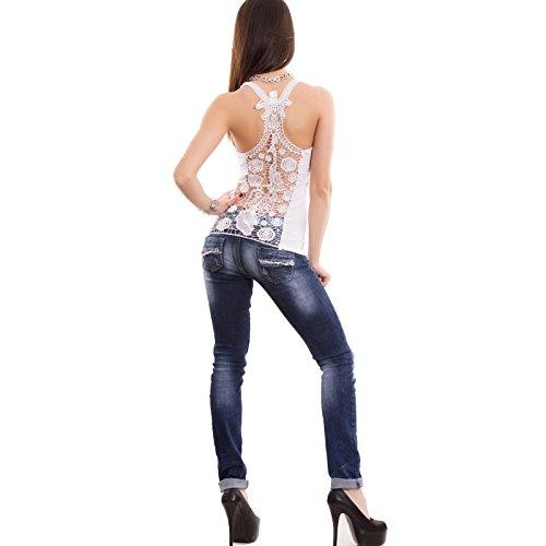 Toocool - Top donna canottiera canotta maglia schiena nuda americana pizzo nuova X7771B Bianco