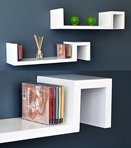 Set ensemble de 2 pièce étagères murales design en Blanc comme une table de chevet ou table d'appoint