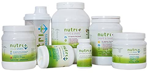 Nutri-Plus Vegan-Sports - Fitness- Bodybuilding-Set speziell für Veganer (Eiweiß, BCAA, Arginin, Kreatin, Vitamine & Shaker) - (Nutri Supplement)