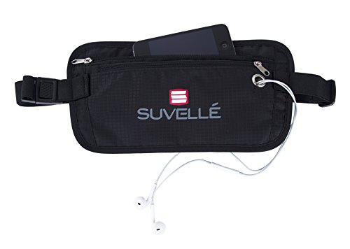Suvelle RFID Blocking Travel Money Belt Wallet Concealed Travel Pouch and Passport Holder