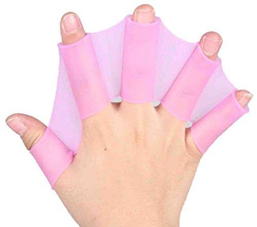 DATO 1 Paar Silikon Schwimmhäute für die Finger Unisex Erwachsene Kinder Schwimm Handschuhe Schwimmflossen Trainingshandschuh