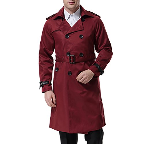 Herren Trenchcoat lange Double breasted Slim Fit Mantel Jacke militärische Trenchcoat mit - Lang Trenchcoat Herren Roter