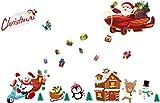 AUPUMI Natale Vetrofanie, DIY Adesivi Foglio di Vinile Fiocco di Neve Babbo Natale Pupazzo di Neve Decorazioni Finestra per Regali di Natale e Festa Decalcomanie, 2Fogli 30x90 cm (A)