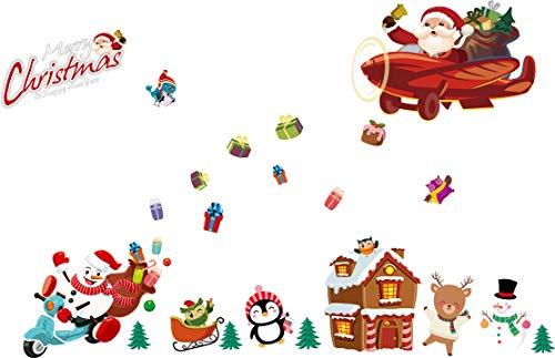 AUPUMI Weihnachten Fensterbilder, Schneemann Rentier Fensterbilder Aufkleber Aufkleber Weihnachten Winter Wonderland Dekorationen verziert Party Supplies (C) (Winter Wonderland Weihnachten Dekorationen)