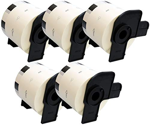 5 x DK11209 Adress-Etiketten (800 Label pro Rolle) kompatibel zu Brother QL-500 QL-550 QL-560 QL-570 QL-580N QL-700 QL-720NW QL-800 QL-810W QL-1050 QL-1060N Etikettendrucker, Papier weiß (29mm x 62mm)