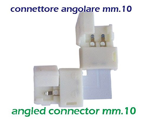 Connettore angolare 2 pin di mm.10 per striscia led 5050-5630, chiusura a scatto libera di saldatura