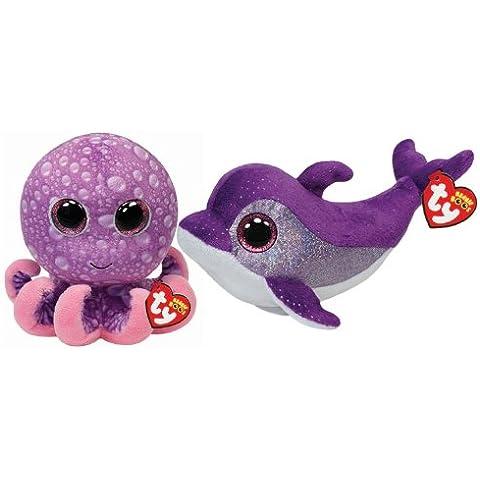 Ty Beanie Boos Voltea Púrpura Dolphin y Pulpo Piernas Juego de 2 Amigos del mar - Purple Flips Dolphin and Legs Octopus Set of 2 Sea Friends