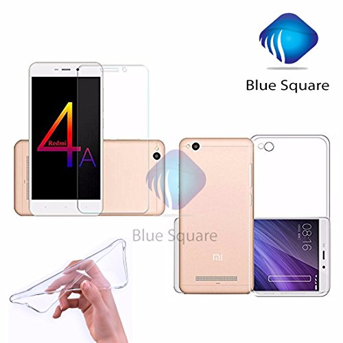 """Square Soft Silicone All Sides Protection """"360 Degree"""" With Anti Dust Plugs Shockproof Slim Back Case Cover 2.5D Curved 3D Edge To Edge Mi 4A Tempered Glass Mobile Screen Protector ( Combo Offers ) For For Mi Redmi 4A / Xiaomi Redmi 4A / Redmi 4A / Mi 4A / Redmi4A / Mi4A - (Transparent )"""