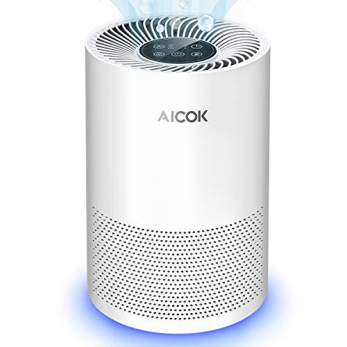 Aicok Purificador de Aire, Filtro HEPA, Bajo Decibelio, Eliminar el Bacterias, Polen, Polvo, Humo del Cigarrillo y Olor a Cocina, Purificador de Aire para Hogar