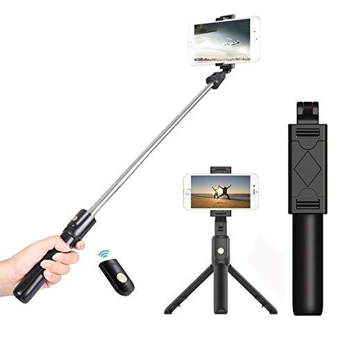 JUMKEET Perche Selfie, 3 en 1 Bâton de Selfie Bluetooth Trépied Monopode Selfie Stick Télescopique avec Télécommande Matériau Alliage d'Aluminium pour iPhone XS/XR/X/8 Plus, Samsung, Huawei, Sony