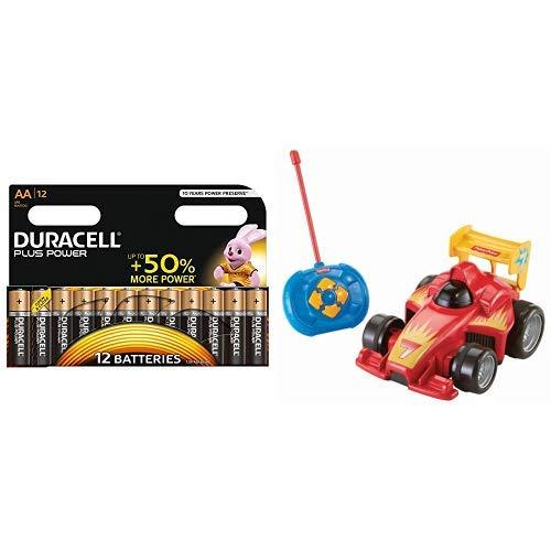 Duracell Plus Power Typ AA Alkaline Batterien, 12er Pack + Fisher-Price BHX87 Fernlenkflitzer ferngesteuertes Auto Motorikspielzeug mit Fernbedienung für Kinder, ab 3 Jahren, rot
