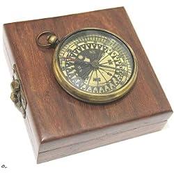 Brass Pocket Compass - Watch type Compass & Case
