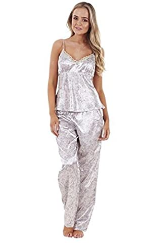 Ladies Satin Pyjama Set 3 Piece Set Lace Vest Shorts Bottoms Pants Womens PJ's Nightwear (Small Uk 10-12, Silver Lace All Over Print)