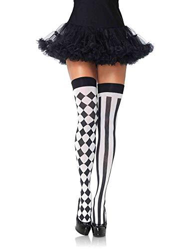 Knappe Muster Kostüm - LEG AVENUE 6120 - Harlequin Thigh Highs, Einheitsgröße (Schwarz-Weiß)