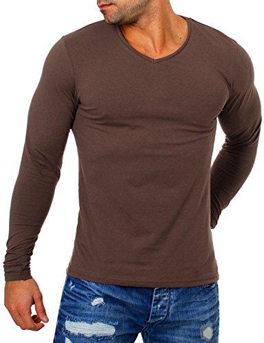 Young&Rich Herren Longsleeve tiefer V-Ausschnitt langarm Shirt einfarbig slimfit mit Stretchanteilen Uni Basic deep V-Neck Tee, Grösse:XL;Farbe:Braun (Langarm-fashion-tee)