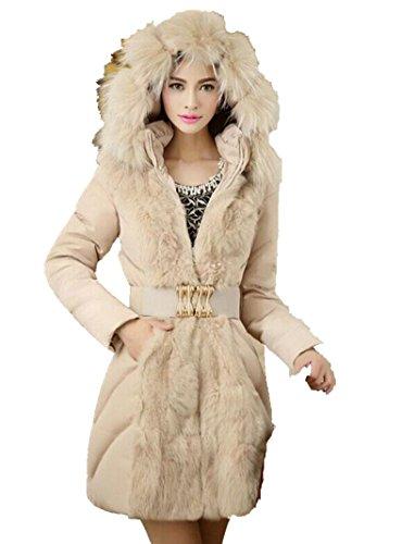 Blansdi 2016 Femme Veste à Capuche Col Fourrure Grande Hiver Manteau Blouson Chaud Parka Veston Militaire Hoodie Long Coton Polaire Grand Taille avec Ceinture Fourrure Amovible